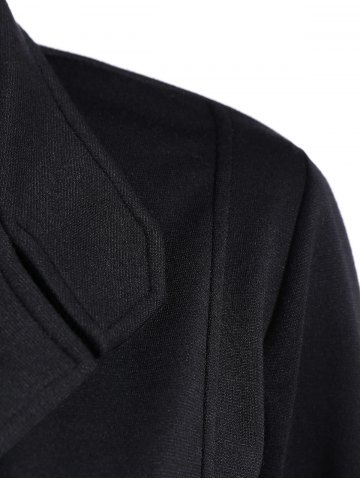 Shops Button Slimming Fitted Thin Cotton Jacket - L BLACK Mobile
