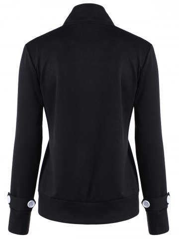 Shops Button Slimming Fitted Thin Cotton Jacket - M BLACK Mobile