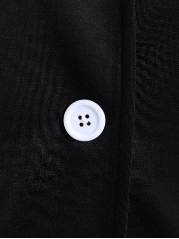 Chic Button Slimming Fitted Thin Cotton Jacket - M BLACK Mobile