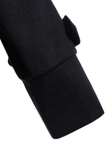 Shop Button Slimming Fitted Thin Cotton Jacket - S BLACK Mobile