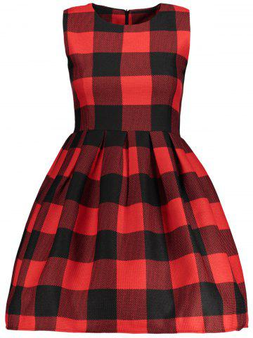Hot Sleeveless Checked Fit and  Flare Dress
