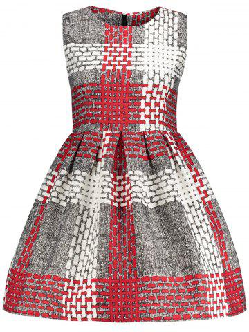 Checked Printed Fit and  Flare Dress - Gray - Xl
