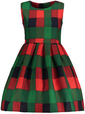 Checked Pannel Fit and  Flare Dress - Green - S
