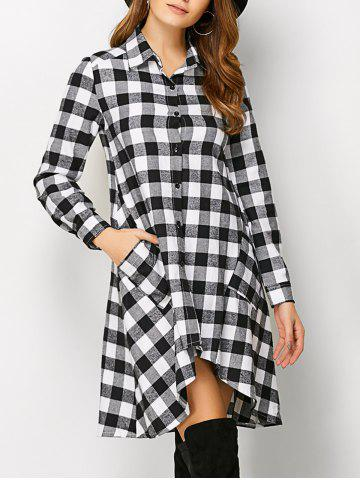 Shop Plaid High Low Flannel Polo Shirt Dress - S WHITE Mobile