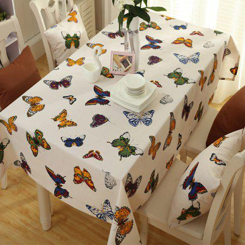 Trendy Butterfly Print Polyester Fabric Kitchen Table Linen COLORMIX 140*100CM