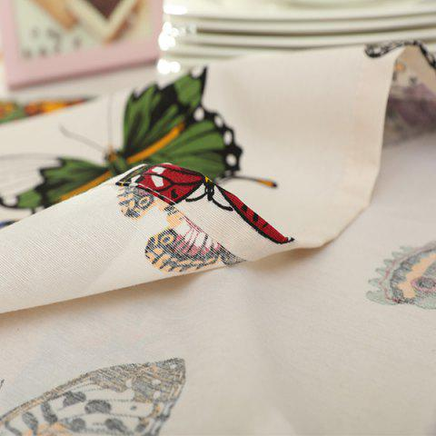 Buy Butterfly Print Polyester Fabric Kitchen Table Linen - 140*100CM COLORMIX Mobile