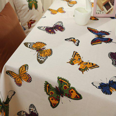 Outfits Butterfly Print Polyester Fabric Kitchen Table Linen - 90*90CM COLORMIX Mobile