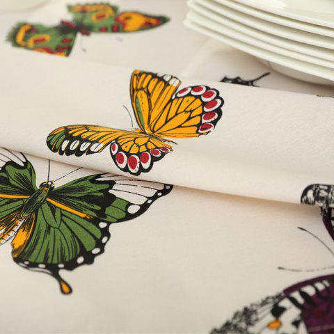 Fashion Butterfly Print Polyester Fabric Kitchen Table Linen - 90*90CM COLORMIX Mobile