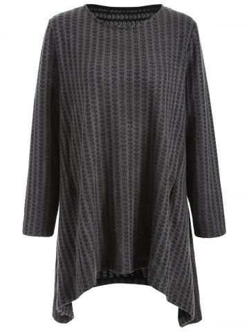 Chic Plus Size Asymmetrical Pullover Sweater - 3XL DEEP GRAY Mobile