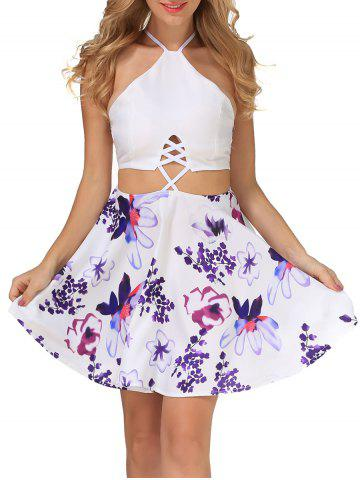 Online Floral Print Criss Cross Backless Dress WHITE S