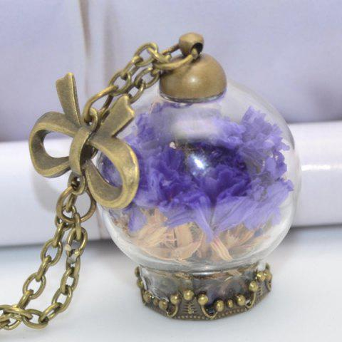Glass Ball Dried Flower Necklace - Deep Purple