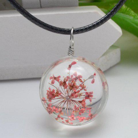 Dried Flower Heady Glass Ball Pendant Necklace - Red