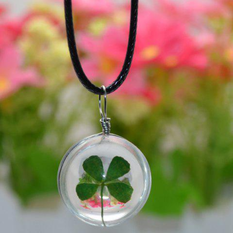 Online Four Leaf Clover Glass Ball Friendship Necklace - GREEN  Mobile