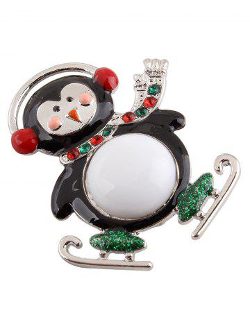 Sale Enamel Rhinestone Cute Monkey Brooch - SILVER  Mobile