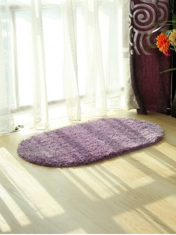 Online Oval Water Absorbent Polyester Fabric Antislip Bathroom Rug - LIGHT PURPLE  Mobile