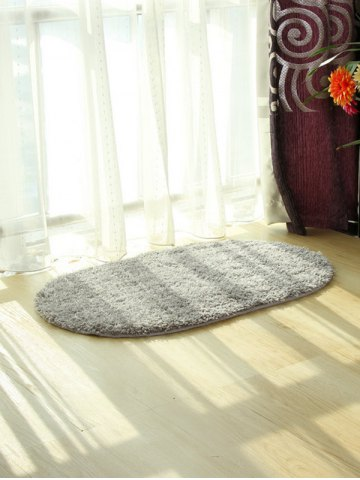 Shop Oval Water Absorbent Polyester Fabric Antislip Bathroom Rug - LIGHT GRAY  Mobile