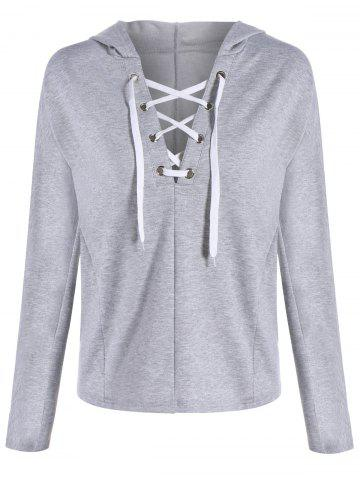 Fashion Plunging Lace-Up Hoodie - XL GRAY Mobile