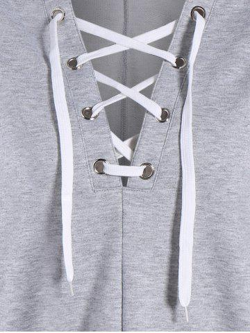 Online Plunging Lace-Up Hoodie - XL GRAY Mobile