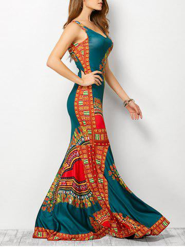 Discount Bohemian Tribe Print Long Fitted Mermaid Dress LAKE BLUE S