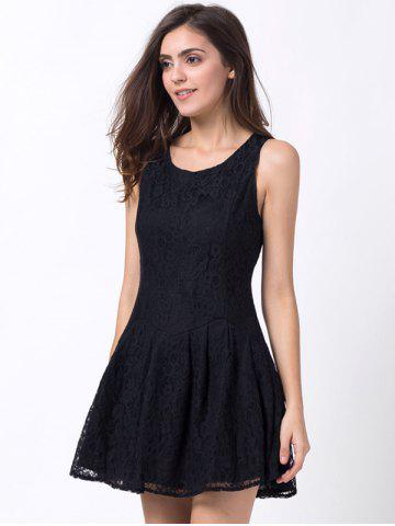 Outfit Round Neck Lace Mini A Line Skater Dress - XS BLACK Mobile