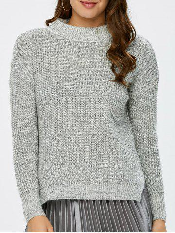 Fashion Mock Neck High Low Chunky Knit Sweater GRAY ONE SIZE