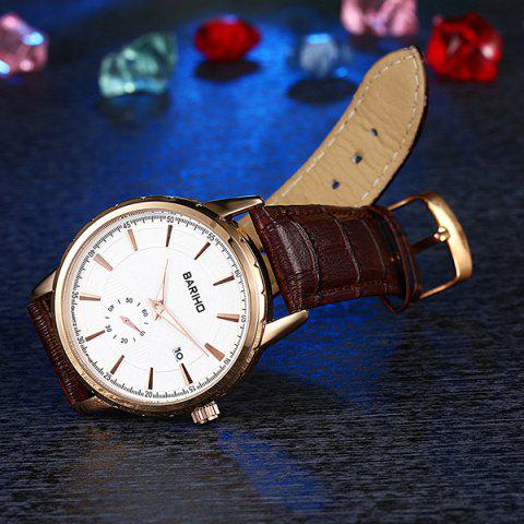 Chic Vintage Artificial Leather Analog Watch - BROWN  Mobile