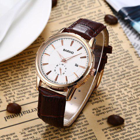 Cheap Vintage Artificial Leather Analog Watch - BROWN  Mobile