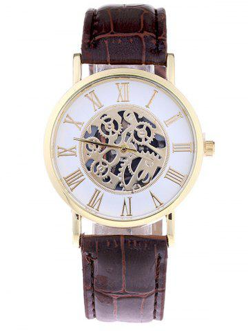 Shops Faux Leather Gear Analog Watch BROWN