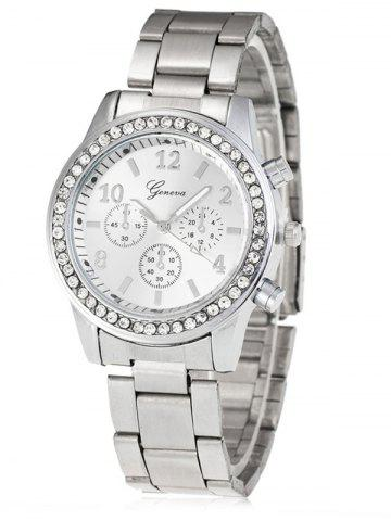 Store Rhinestone Metal Analog Wrist Watch SILVER