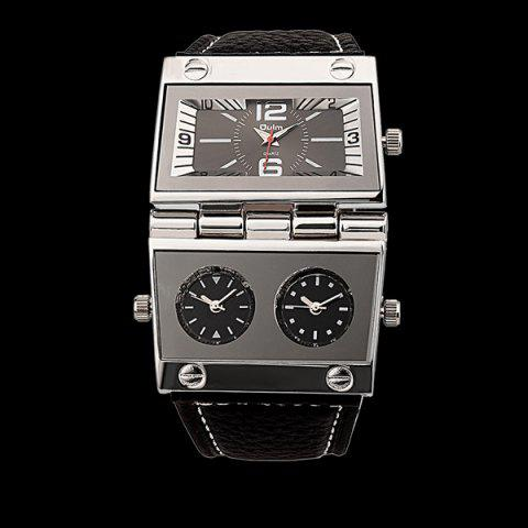 Outfit Quartz Watch with PU Leather Watchband BLACK