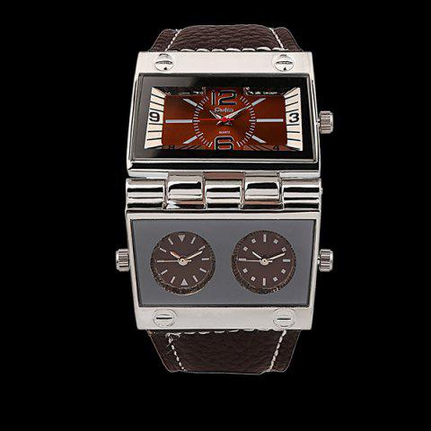 Chic Quartz Watch with PU Leather Watchband COFFEE