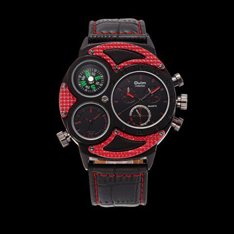 Shop Big Dial Watch with PU Leather Watchband RED