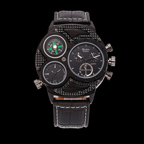 Unique Big Dial Watch with PU Leather Watchband BLACK