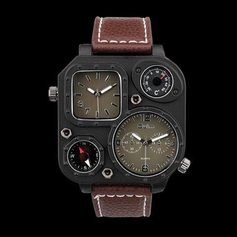Affordable Analog Quartz Watch with Artificial Leather Watchband COFFEE