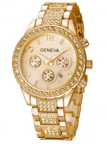 Rhinestoned Quartz Wrist Watch - Golden