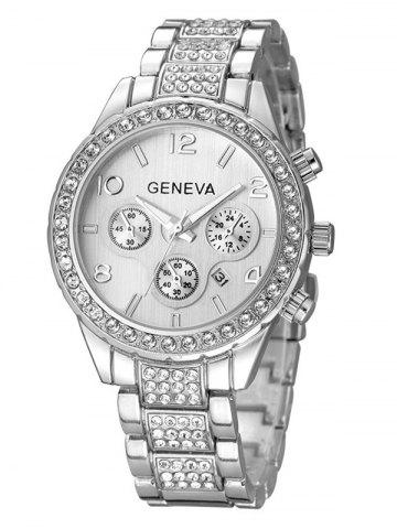 Chic Rhinestoned Quartz Wrist Watch SILVER