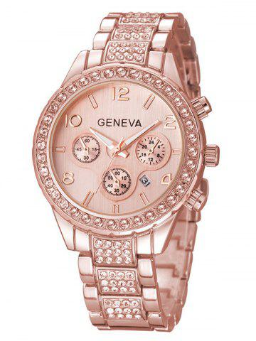 Latest Rhinestoned Quartz Wrist Watch ROSE GOLD