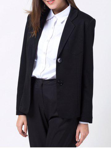 Unique Lapel Collar Back Slit Blazer - L BLACK Mobile