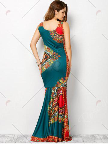 Outfits Bohemian Tribe Print Long Fitted Mermaid Dress - XL LAKE BLUE Mobile