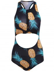 Pineapple Print Cut Out Racerback Swimsuit
