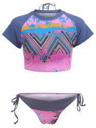 Tropical Print Lace Up Tankini Set
