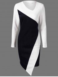 Color Block Asymmetric Fitted Long Sleeve Sheath Dress