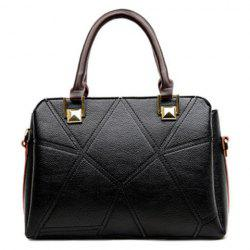 Stitching Geometric Pattern Colour Spliced Tote Bag - BLACK