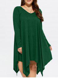 Asymmetrical Casual V Neck Long Sleeve Dress