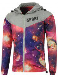 Raglan Sleeve Zip Up Hooded Galaxy Jacket
