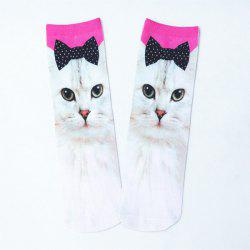 Bowknot Cat 3D Printed Crazy Socks