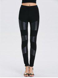 Faux Leather Bodycon Leggings - BLACK