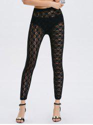 See-Through Lace Panel Bodycon Leggings - BLACK