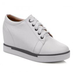 Hidden Wedge PU Leather Athletic Shoes
