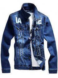 Graphic Print Distressed Denim Jacket